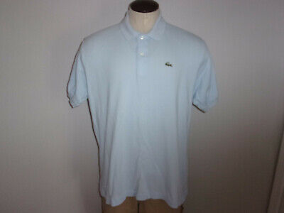 Men's LACOSTE sz. 7 XL Light Blue SS Polo Shirt EMBROIDERD CROCODILE