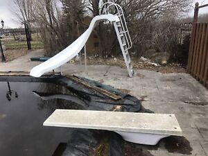 Pool slide and diving board