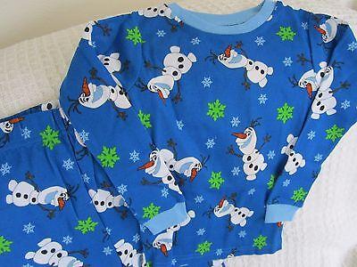 New Disney Frozen Olaf Girls Boys Fits Size 3-4 Pjs Set Cotton 2 Piece Pajamas 5