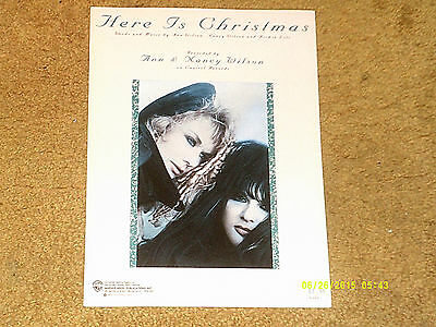 Heart ANN & NANCY WILSON sheet music Here Is Christmas 1989 5 pages (NM shape)