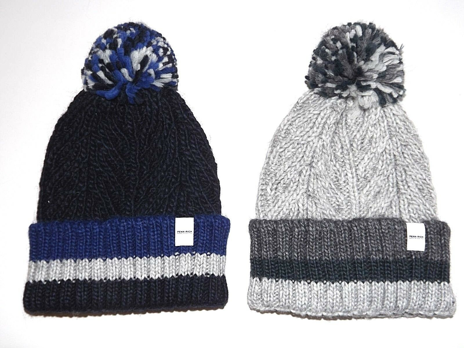 PENN-RICH by WOOLRICH CAPPELLO PON PON F- PENN STRIPED HAT BERRETTO BOBBLE HAT