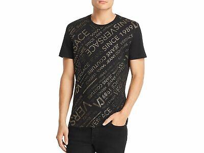 $350 Versace Jeans Men Black Gold Graphic Long-Sleeve T-Shirt Crewneck Size Xl