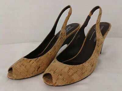 Donald J Pliner Papina Cork Slingback Peep Toe Pumps Heels Womens Size 8.5 (Donald J Pliner Peep Toe Heels)