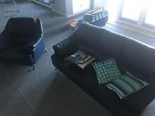 Navy Blue 3 piece leather lounge Church Point Pittwater Area Preview