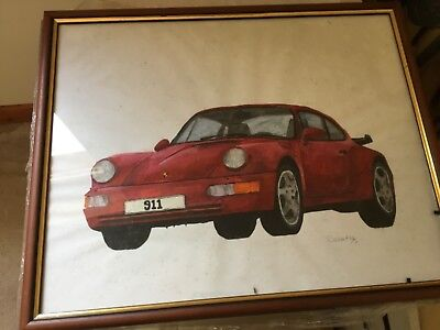 Red Porsche 911 glazed painting new as painted and still wrapped