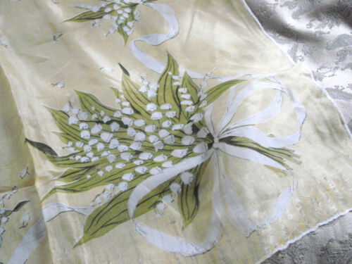 """Vintage 50s Scarf SILK Lily of Valley large 31x34"""" GC Hand Rolled Yellow Floral"""