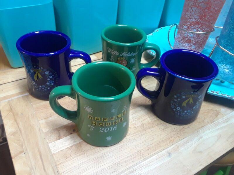 Set of 4 Waffle House 2016 -2017 Christmas Holiday Coffee Mugs/Cups