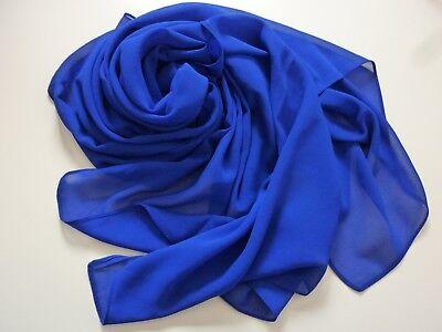 Chiffon Stola Schal Hochzeit Bolero Abendkleid Tuch Hijab Royal Blau Koenigsblau