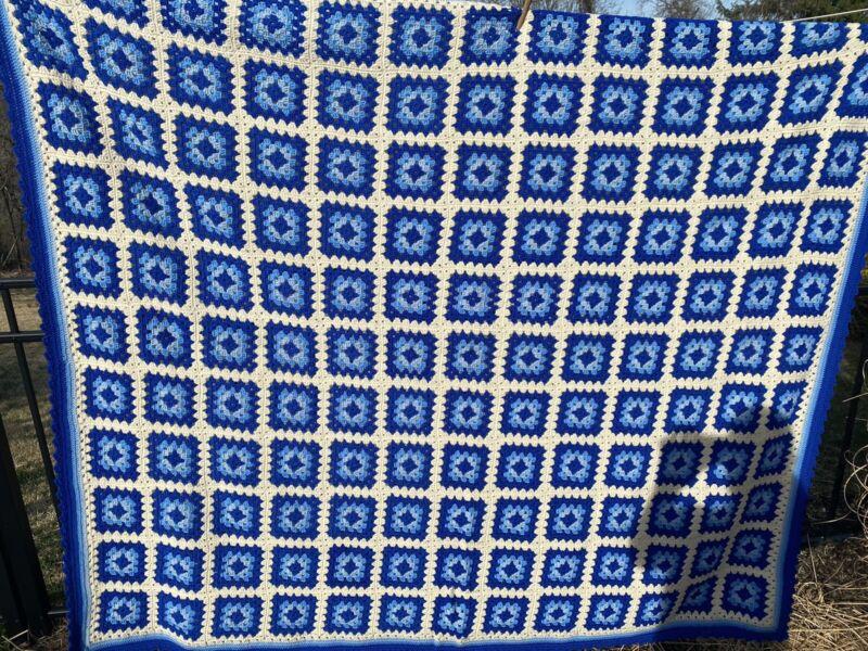 Huge Vintage Blue And White Granny Square Afghan