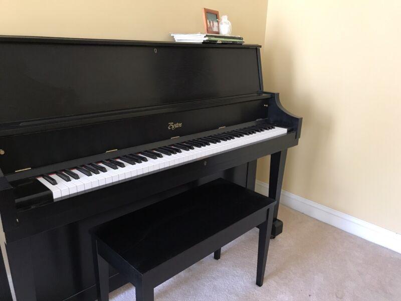 Boston Up 18s Beautiful Black Satin Boston Upright Piano. Excellent Condition
