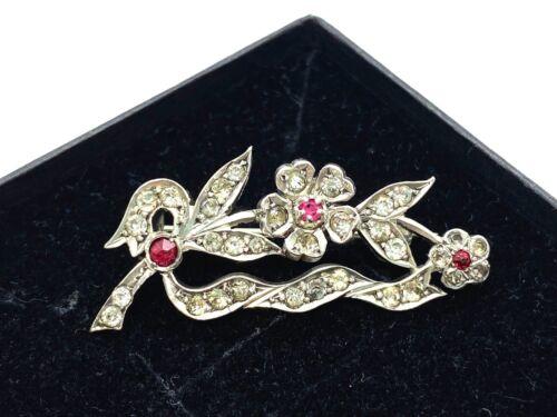 Antique Victorian Sterling Silver Ruby Paste & Diamond Paste Flower Spray Brooch