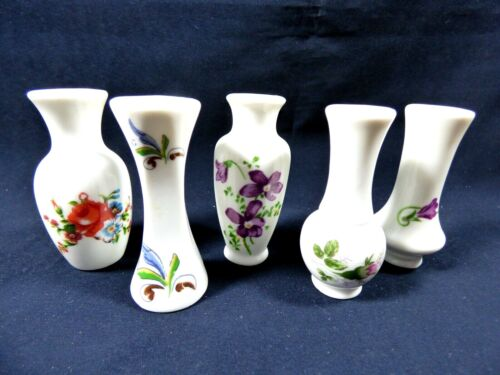Lot of 5 collectible porcelain doll house mini bud vase floral miniature set