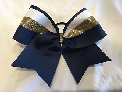 Navy Blue Gold and White SWISH Cheer Bow ()
