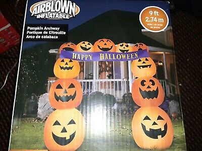 9 Ft PUMPKIN HAPPY HALLOWEEN ARCHWAY Airblown Lighted Yard Inflatable