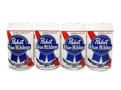 Set of 4 12 oz. Pabst Blue Ribbon Beer Clear Glass Cups in The Shape of Cans