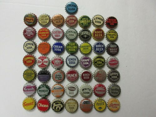 50= CORK LINED = OLD SODA BOTTLE CAPS=NICE CONDITION=NEVER USED=