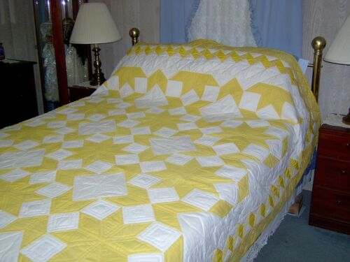 King/Queen Amish Hand Made Yellow Star Quilt  89x100