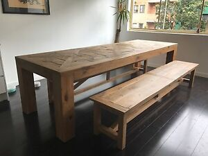 Custom made reclaimed timber dinning table and benches Woolloomooloo Inner Sydney Preview