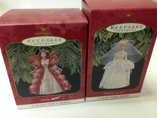 Lot of 2 Barbie Christmas Ornament Hallmark Collector