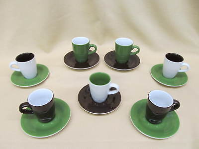 14pc Kahla PRONTO COLORE Green, Brown, White Demitasse or Latte Cup & Saucer Set