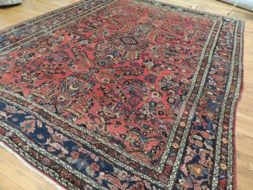 9x12 Semi-Antique Geometric Floral wool hand-knotted Oriental Area Rug RED Navy