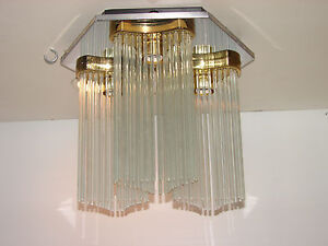 Vtg  Sciolari Lightolier Chandelier Fixture Glass Rods   Flush Mid Century