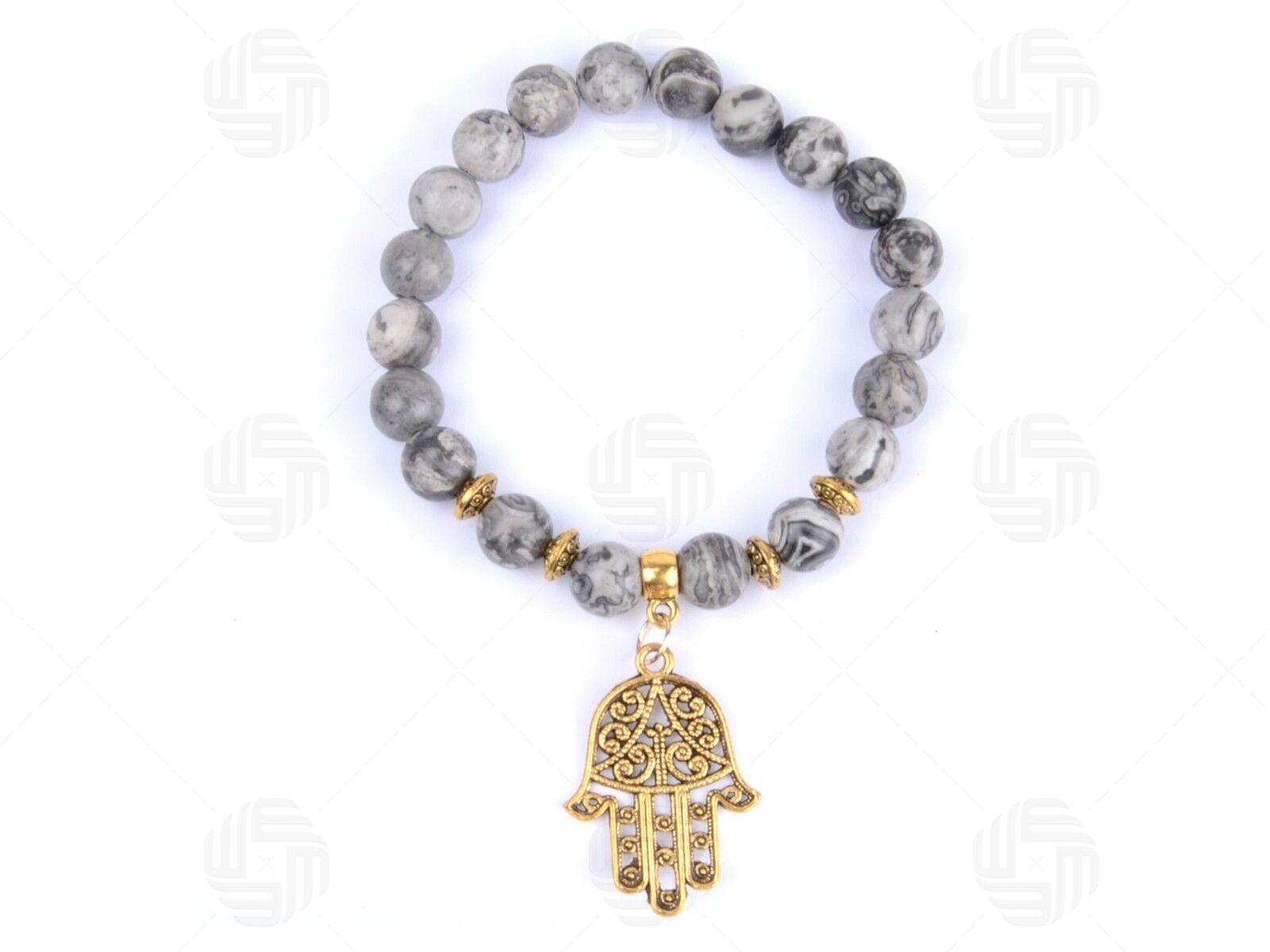 Hamsa Hand of God Protection Turquoise Yoga Amulet Antique Brass Long Necklace