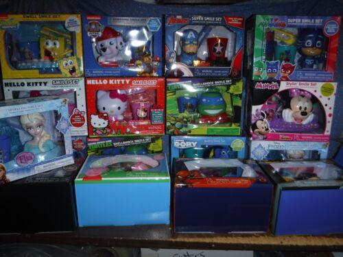 NIP Smile Sets Toothbrush & Holder Rinse Cup Disney Marvel TMNT Hello Kitty Spo