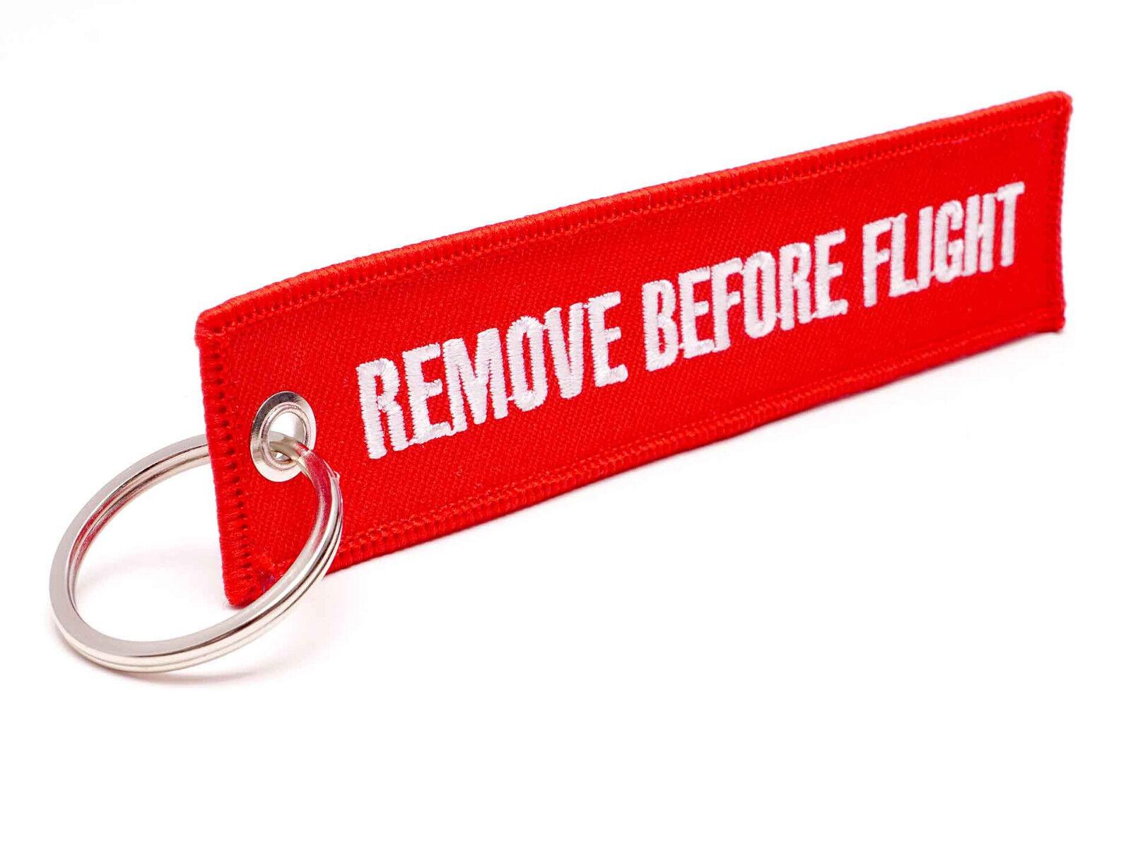 REMOVE BEFORE FLIGHT ® - Schlüsselanhänger in Rot - ORIGINAL EU MARKE