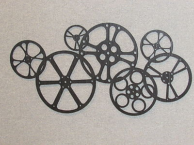 Large Wooden Movie Reels Cinema Wood Theater Wall Decor Art