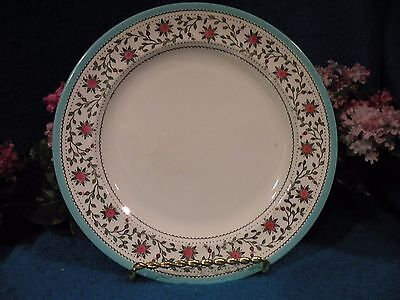 """Royal Crown Derby """" Star Wreath"""" 6 Dinner Plates Turquoise trim Pink flowers"""