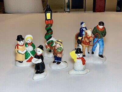 Vtg Dept 56 Christmas Village People Carolers Horse Lamp Post Snowman Lot