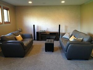 leather Natuzzi love seat &a couch
