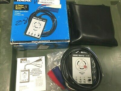 Ideal 61-520 3 Phase Sequence Tester With Color Coded Insulators New