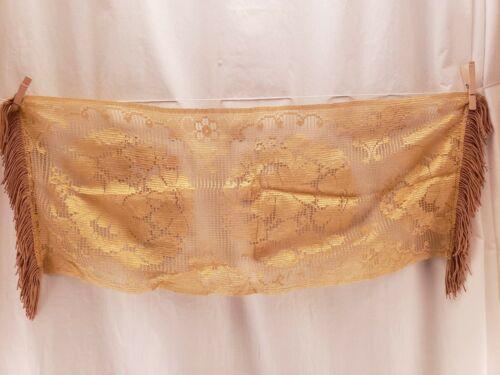 "Antique Vintage Gold Tone Lace Floral Dresser Scarf with Fringe 34"" x 13"""