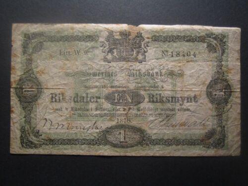 1870 SWEDEN 1 RIKSDALER RIKSMYNT