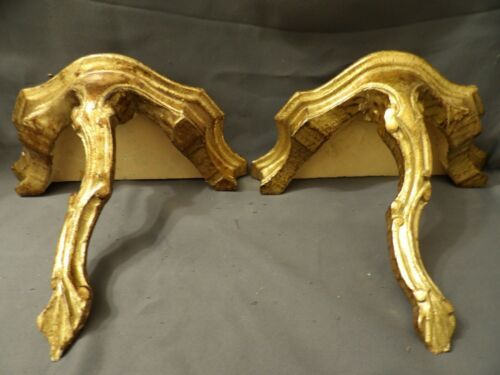 Pair Vintage Italian Rococo Gilt Wood Carved Pair Shelf Hollywood Regency