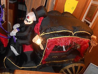 Gemmy Halloween Inflatable Horse Carriage Hearse Reaper 8 Ft Long Sounds Lighted