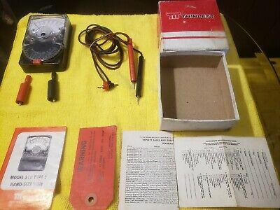 Triplett Model 310 Type 3 Volt Ohm Meter Original Box And Leads