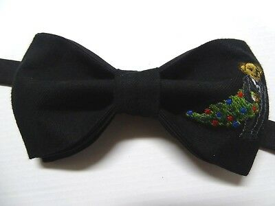 NEW Handmade Custom Bow tie Black Tuxedo Bear Christmas Tree Pre Tied Adjustable](Christmas Bow Tie)