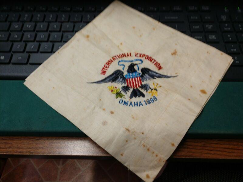 1898 OMAHA & TRANS-MISSISSIPPI INTERNATIONAL EXPOSITION HAND SEWN HANKERCHIEF