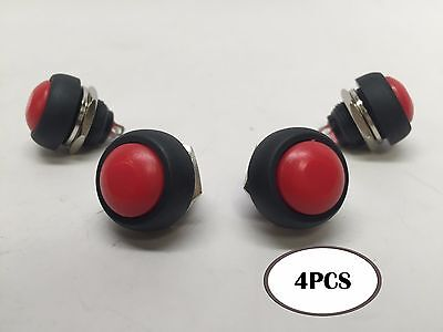 Pactrade Marine 4pcs Car Mini Round Red Push Button Switch Momentary On-off