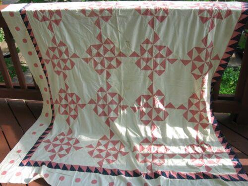 "Antique Hand Sewn Pinwheels & Coins Quilt Top, 84"" x 77"""