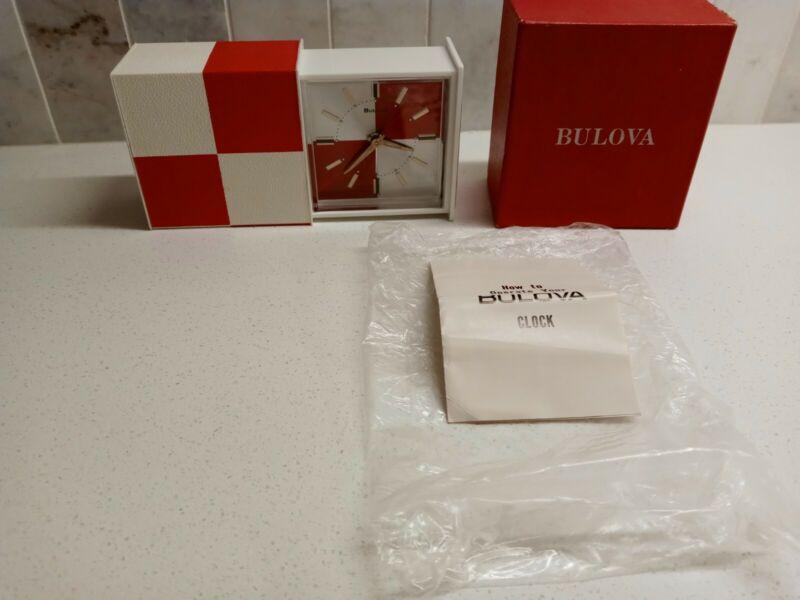 VTG BULOVA RED WHITE CHECK WIND UP TRAVEL ALARM CLOCK JAPAN Mid Century Modern