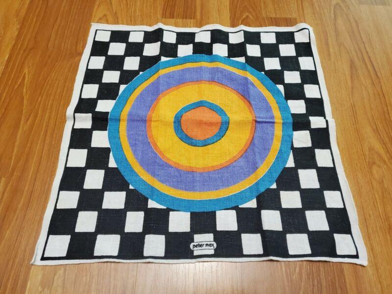 RARE Vintage Mid Century retro 70s 60s Peter Max checkered circle napkin fabric!