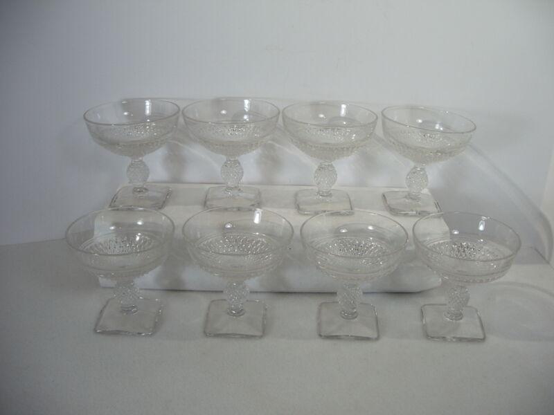 Glasses Sherbet Champagne Cambridge Mt Vernon Stems Crystal Square Base  8pcs