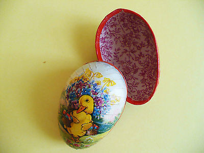 """VINTAGE PAPER MACHE EASTER EGG CANDY CONTAINER 3"""" WESTERN GERMANY"""