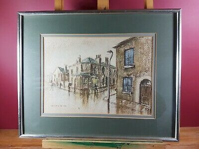 SALFORD IN THE RAIN MIXED MEDIA ARTWORK BY LIZ TAYLOR DATED (19)78