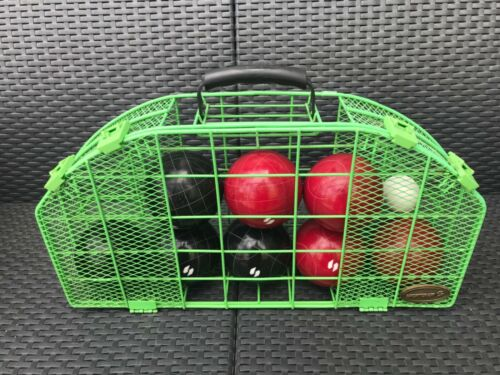 Vintage Sportcraft Bocce Ball Set w/ Metal Wire Carrying Case Made Italy