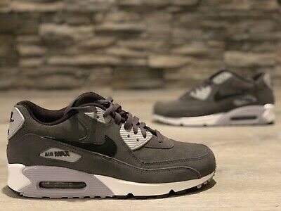 Size 10.5 NIKE Men AIR MAX 90 LEATHER 652980-012 Wolf Grey Black White (Nike Air Max 90 Leather Black Grey)